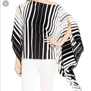 Vince Camuto Linear Accordion Striped Poncho